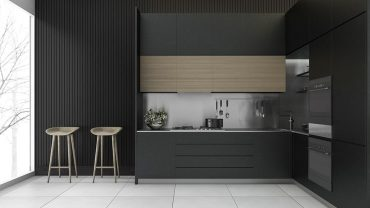 match black cabinets with white countertops